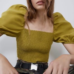 NEW Zara Puff Sleeve Square Neck Crop Top Blouse